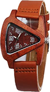 HJIAN Wood Watches Triangle Red Wooden Watches with Leather Band Quartz Wrist Watch Bracelet for Women