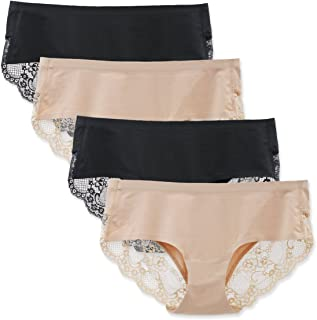 LIQQY Women`s 3 Pack Cotton Lace Coverage Seamless Brief Panty Underwear