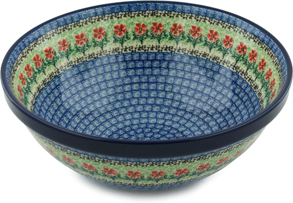 Polish Pottery Maraschino Large Serving Bowl