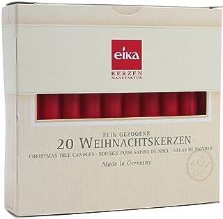 BRUBAKER 20 Stück Christbaumkerzen rot - Made in Germany
