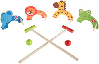 Hey! Play! Kids Animal Croquet Set- Mini Croquet Playset with 4 Wooden Zoo Animal Design Wickets and 2 Mallets-Fun Classic Game for Boys and Girls