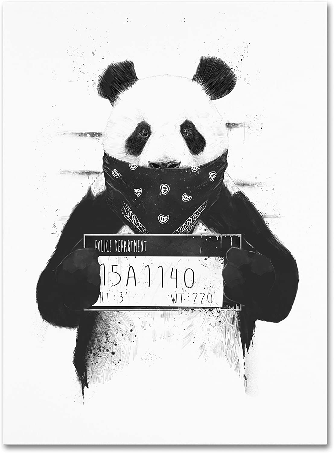 Bad Panda by Balazs Solti, 24x32-Inch Canvas Wall Art