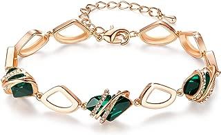 Leafael [Presented Miss York Wish Stone Bracelet Made Swarovski Crystals, Silver Tone 18K Rose Gold Plated, 7