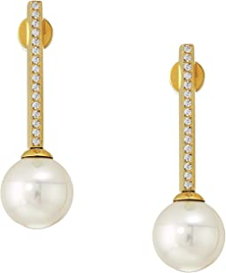 10mm Round Pearls Yellow Plated Earrings with 1.25 mm Of CZ Accents