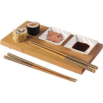 Richardson Sheffield - Juego de utensilios para servir sushi para dos personas, incluye palillos, platos de inmersión y tabla de servir: Amazon.es: Hogar