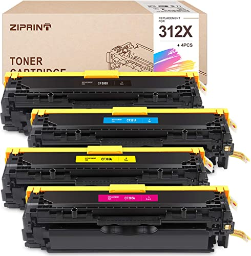 high quality ZIPRINT high quality Remanufactured Toner Cartridge Replacement for HP 312A 2021 312X CF380X CF381A CF382A CF383A Toner use with HP Color Laser Jet Pro MFP M476nw M476dn M476dw Printers (4-Pack) sale