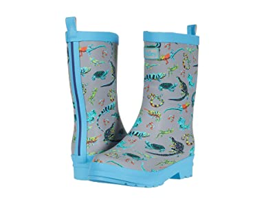 Hatley Kids Rambunctious Reptiles Matte Rain Boots (Toddler/Little Kid) (Grey) Boys Shoes