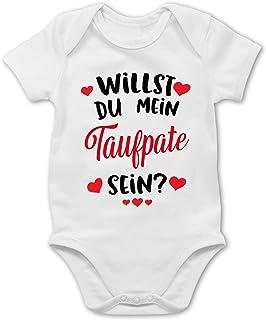 Shirtracer Sprüche Baby - Willst du Mein Taufpate Sein - rot - Baby Body Kurzarm für Jungen und Mädchen