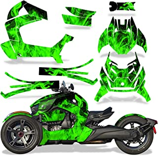 Full Body Wrap Graphic Sticker Decal for Can-Am Ryker 2019 - Green Flames