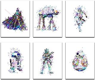 Star Wars Poster Watercolor Prints - Unframed Set Of 6 (8 X 10 Inch) - Star Wars Decor - Bathroom, Bedroom Living Room Dec...