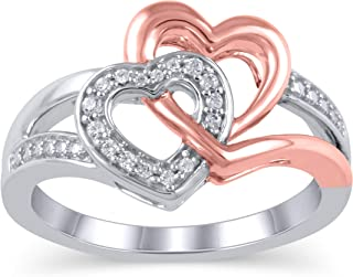 Vibgyor Designs 925 纯银 1/20 克拉圆形切割(颜色 J-K,净度 I2-I3)女士天然钻石戒指