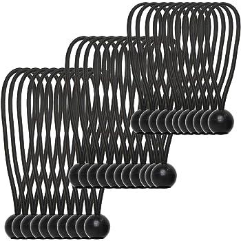 MJMP 5 pic Bungee Ball 9 Black//bungee cord//bungee cord with balls//bungee cord with hooks heavy duty//bungee cord with carabiner hooks 9, Black 5, BLACK