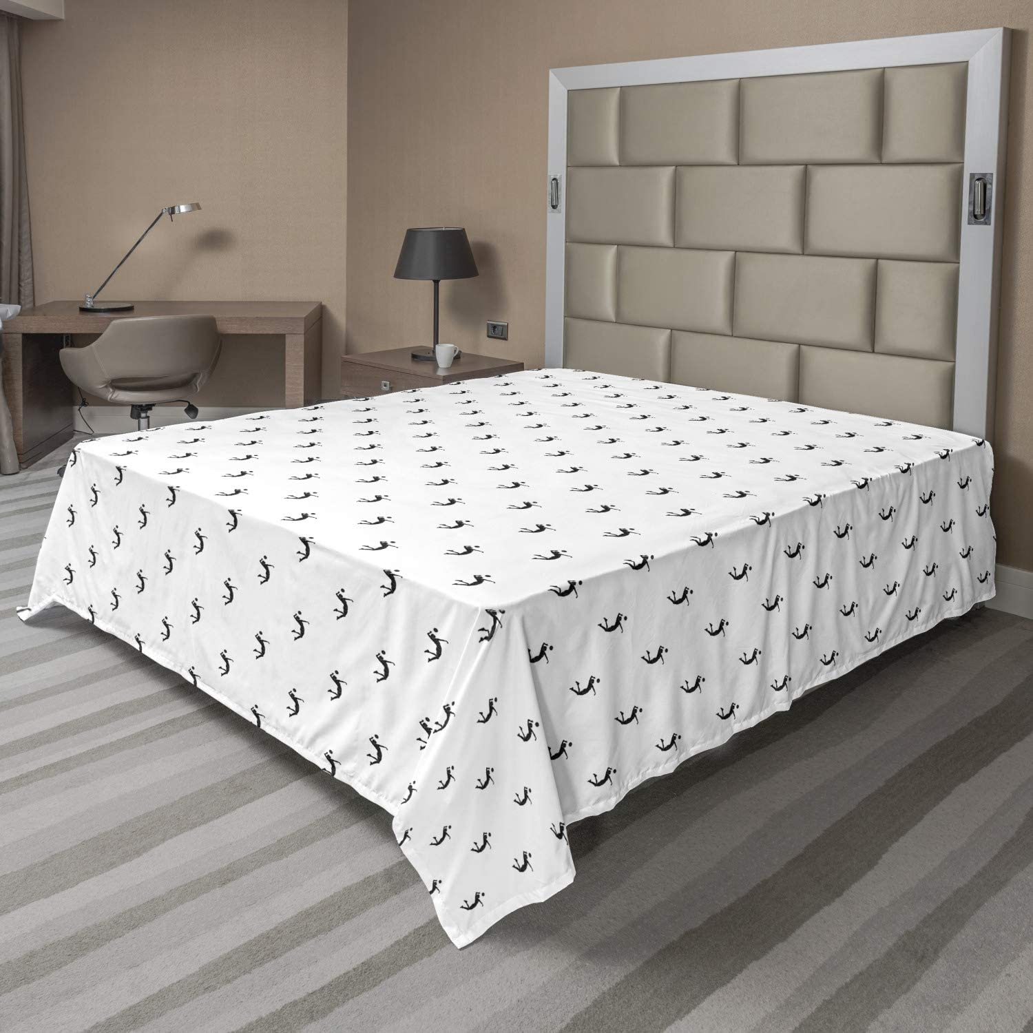 Ambesonne Bed Top 1 Piece Flat Sheet Oversized and Lightweight Printed Fabric