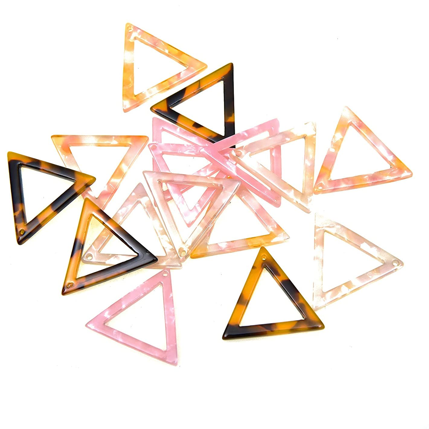 Monrocco 16Pcs Acetate Acrylic Bead Pendant Acetic Acid Triangle Charm Pendant Acetate Connector Acrylic Supplies Necklace Earring Supplies