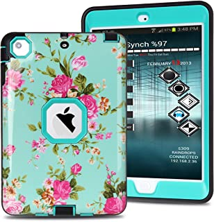 MAKEIT CASE iPad Mini Case, iPad Mini 2 3 Case, 3in 1 Heavy Duty Protection Combo Hybrid Impact Silicone Hard Case Cover for ipad Mini 1/2/ 3 (IMD-Flower Green)