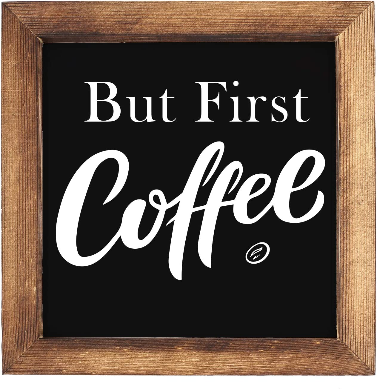 KU-DaYi But All stores are sold First Coffee Framed Block Cheap mail order specialty store 7 inches Rustic x F Sign
