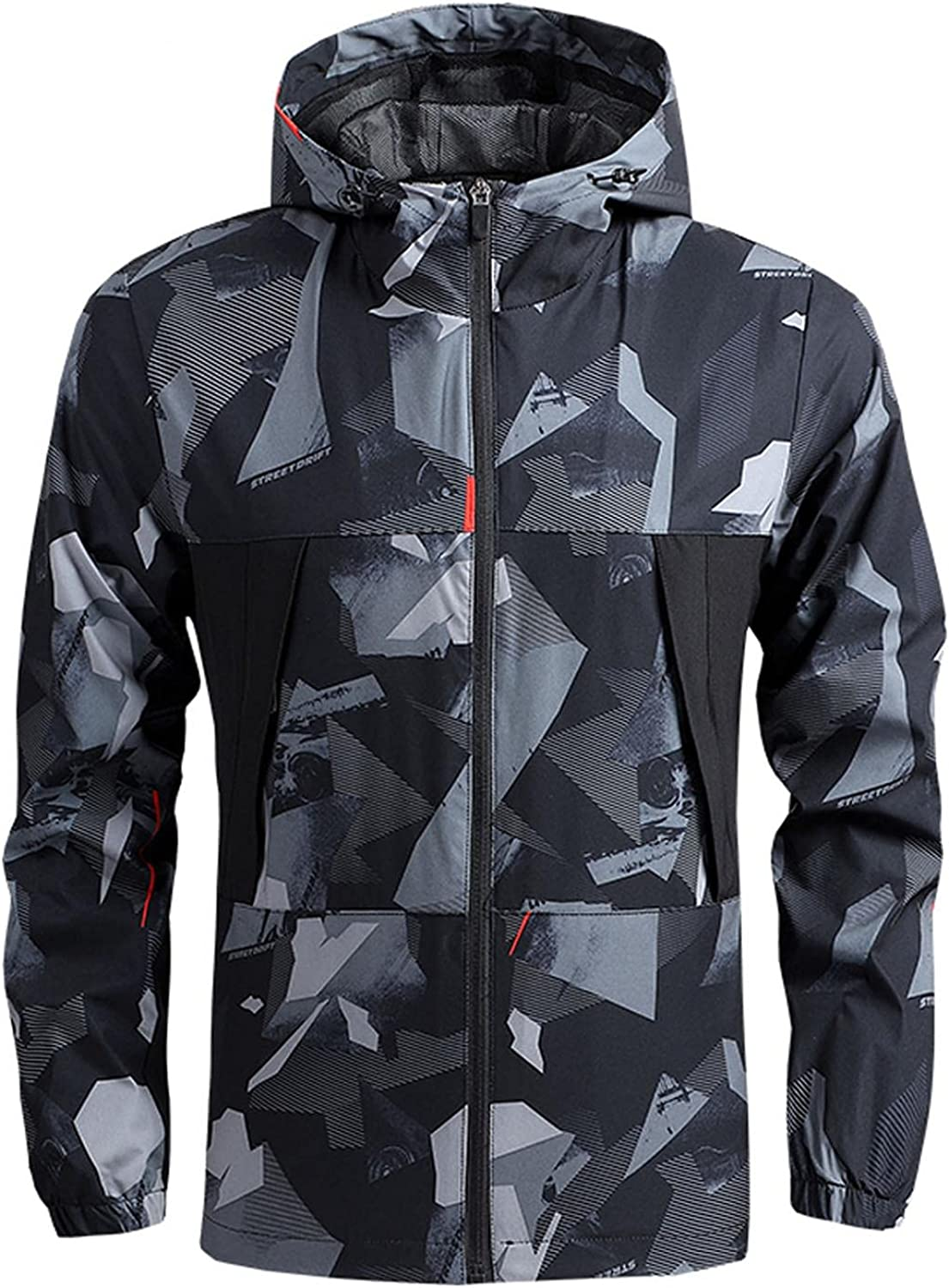 Huangse Full Print Jacket for Men Casual Plus Size Loose Fall Thin Windproof Waterproof Hooded Blouse Pullover Coat