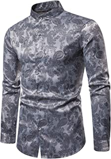 WHATLEES Camisa asimétrica de satén para hombre con cuello alto y estampado de cachemira.