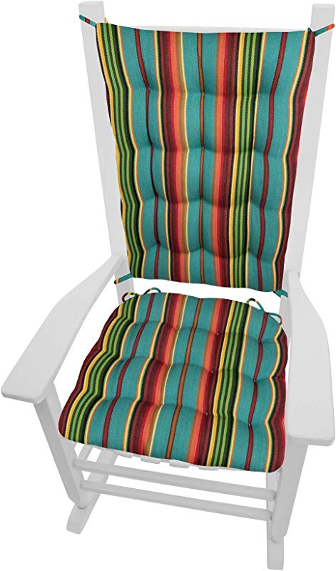 Barnett Products Santa Fe Serape Stripe Rocking Chair Cushions Size Extra Large Seat Cushion And Back Rest Latex Foam Fill Southwest
