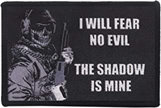 I Will Fear No Evil The Shadow is Mine Military Morale Patch DIY Appliques Emblem Embroidered Badge Fastener Hook & Loop P...