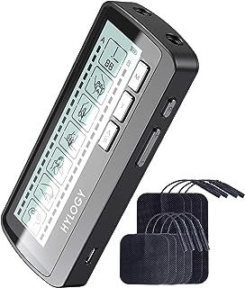TENS Electroestimulador Muscular, HYLOGY Dos Canales de Masaje EMS TENS Con 8 Electrodos, Para Aliviar el Dolor Muscular y Relajación Muscular, Recargable y Controlable por Tiempo (TENS2)