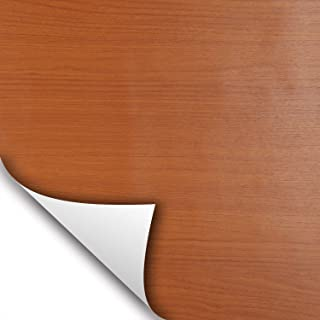 wallstickery Cherry Wood Grain Paper Prepasted Vinyl Film Self Adhesive Removable Peel Stick Contact on Furniture Home Kitchen Shelf Drawer Liner Countertops (Cherry)