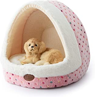 Tofern Colorful Dots Patterns Striped Cute Pet Fleece Bed Puppy Small Medium Dog Cat Sleeping Igloo House Non-Slip Warm Washable