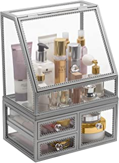 Sorbus Makeup Organizer Countertop Acrylic, 2-Piece Stackable Design Make Up Cosmetics Storage Stand with Drawers, For Cos...
