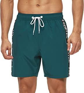 Arcweg Mens Swimming Shorts Adjustable Drawstring Swimming Trunks Surf Mesh Lining Beach Shorts Mens Long Elastic Waist Bo...