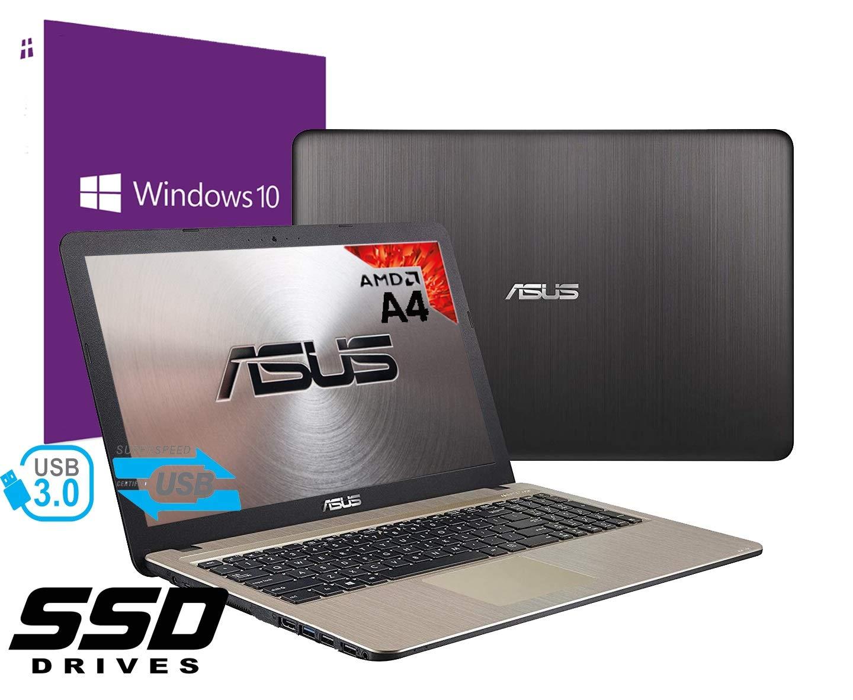 Notebook Asus Vivobook portátil PC pantalla de 15,6 pulgadas Cpu AMD A4 2.60 Ghz /RAM 4 GB DDR4 /Ssd 256 GB /Graphics Radeon R5 /Hdmi grabadora WiFi Bluetooth /Windows 10 profesional + open office: Amazon.es: Informática