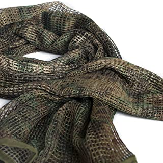 IRQ Tactical Military Neck Scarves Camo Men Scarves Ghillie Sniper Veil Desert Shemagh Scarf Knitting Mesh Net Head Face Wrap for Wargame
