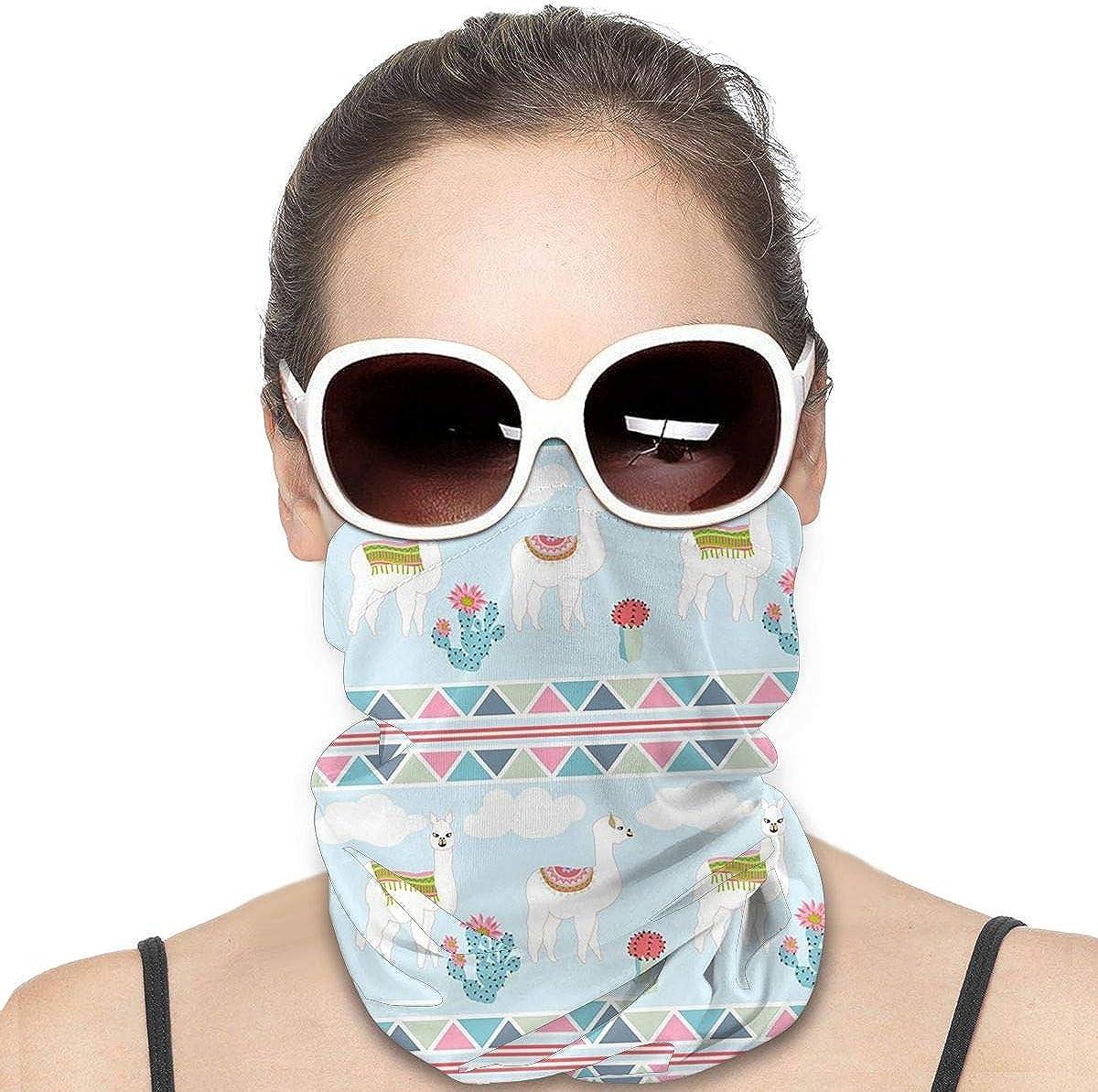 KiuLoam Women Bandanas Face Mask, Cute Llama Geometic Neck Gaiter Mask Headband for Men Face Scarf Dust, Outdoors, Sports