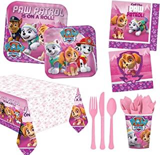 AMSCAN EUROPE Paw Patrol Girl Party Supplies for 8 Guests, Includes Plates, Cups, Table Cover, Cutlery, Tissues, Multicolo...