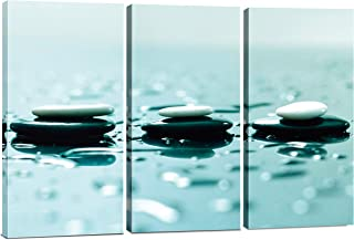 Split Canvas Wall Art Decor - Relaxing Zen Stones Wall Art, 3 Panels Hanging Canvas Art Set - Decorative Wall Art Prints for Living Room, Bedroom, Office, Spa, Home Decor, Painting Gift, 24x36 Inch