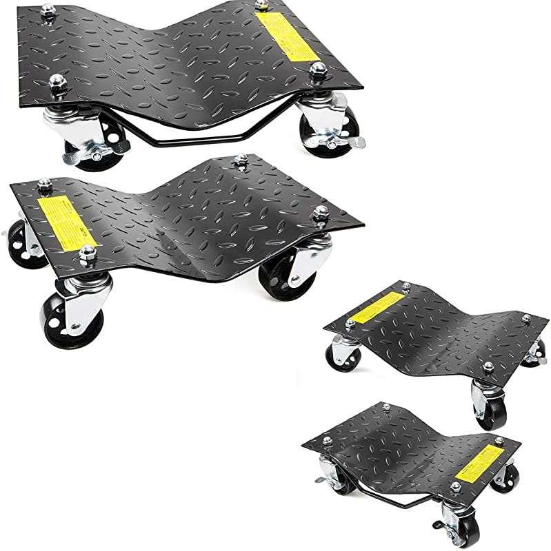 XtremepowerUS 4 Tires Premium Skates Wheel Car Dolly Repair Slide Vehicle Car Moving Dolly Pack Of 4 Rated At 6000lbs