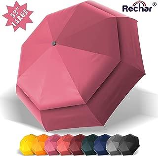 RECHAR Windproof Large Travel Umbrella 一 52/42 inchTwo Size Automatic Unbreakable Umbrella, Men&Women Totes Umbrella