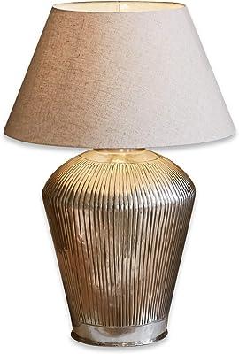 Loberon Lampe à poser Caulières - laiton, coton - H/D env. 66/42 cm