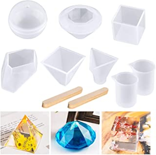 Joypea Resin Casting Molds Large Clear DIY Silicone Molds, 6Pack Including Square Sphere Pyramid Diamond Stone Resin Mold Silicone Measurement Cups Wood Sticks, Perfect for Gift