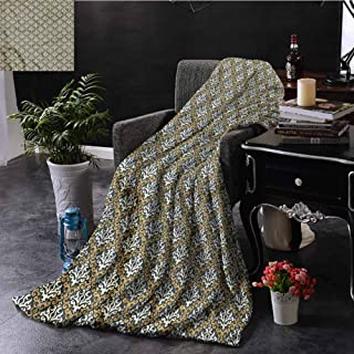 SSKJTC Antique Boho Throw Blanket Royal Foliage Motifs Bedroom Dorm Sofa Baby Cot Beach W40 xL60