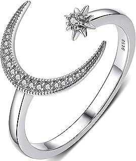 YooAi Star Moon Ring Cubic Zirconia Intarsiato Open Finger Ring Jewelry Gift for Women