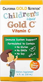 California Gold Nutrition Children s Liquid Gold Vitamin C USP Grade Natural Orange Flavor 4 fl oz 118 ml, Milk-Free, Egg-...