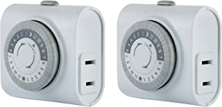 GE Mechanical 2 pack, 2 featuring 56177 24-Hour Indoor Basic Timer, 1 Polarized Outlet, Plug-In, Daily On/Off Cycle, 30 Mi...