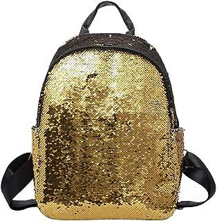 Aspire Sequins Backpack, Shiny Glitter School Backpack, Beach Bag-Golden