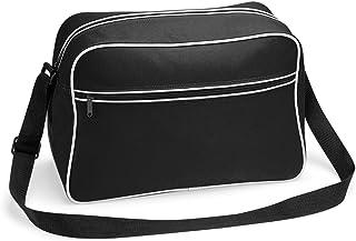 noTrash2003 Retro Shoulder Bag im Design der Siebziger, Schultertasche Sporttasche aus Nylon mit Paspelierung inkl. gratis Schlüsselanhänger