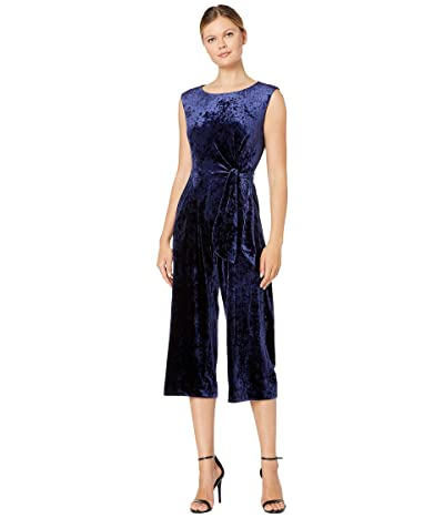 Tahari by ASL Stretch Crinkle Velvet Cropped Side Tie Jumpsuit (Navy) Women