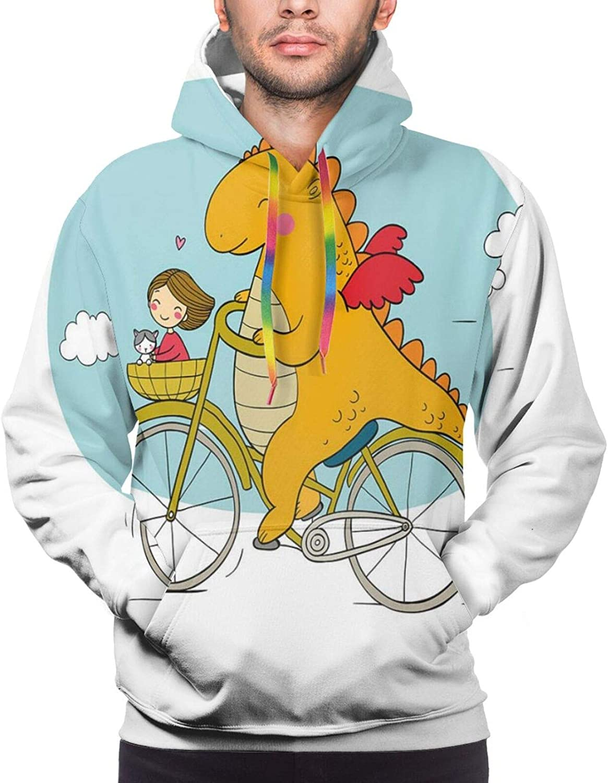 Men's Hoodies Sweatshirts,Happy Friendly Dragon Traveler with A Girl and A Cat Nursery Cartoon Print