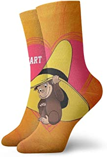 Curious Of George Painting Art Printed Funny Novelty Animal Casual Cotton Crew Socks 11.8inch