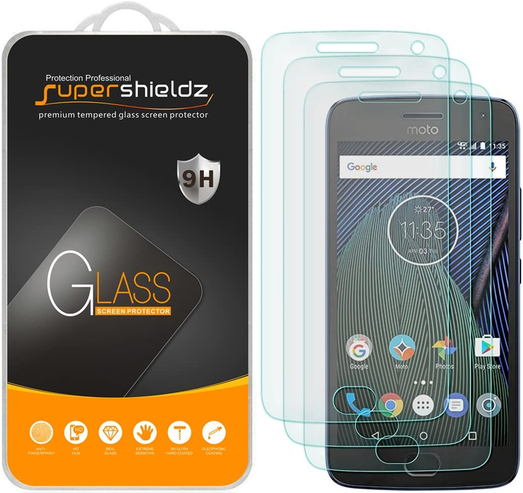 (3 Pack) Supershieldz Designed for Motorola (Moto G5 Plus) and Moto G Plus (5th Generation) Tempered Glass Screen Protector, Anti Scratch, Bubble Free