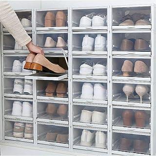Lot de 3 boîtes à chaussures empilables Transparent Avec porte transparente
