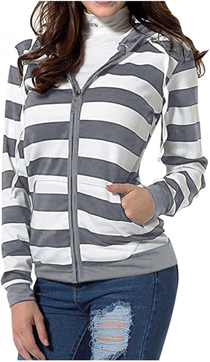 Haheyrte Hoodies for Womens Zip-Up Long Sleeve Striped Lightweight Pullover Sweatshirt Casual Knit Tunic Jacket with Pockets